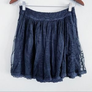 Free People Embroidered Lace Overlay Mini Skirt XS